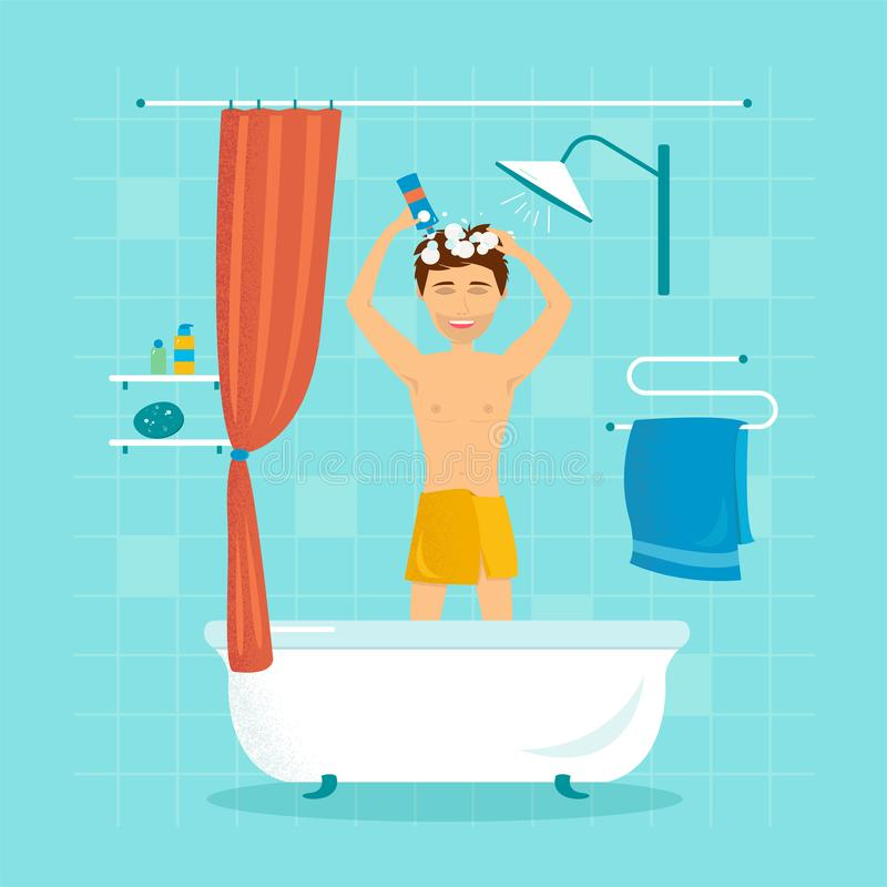 Man in the shower washes his hair with shampoo vector illustration