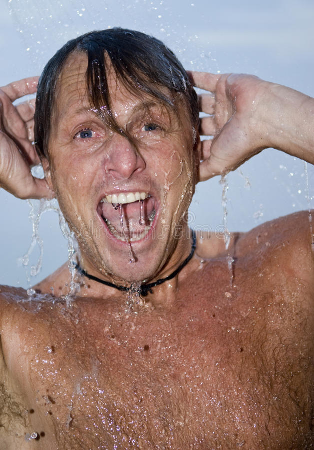 Download Man showering stock image. Image of eyes, hairy, liquid - 10164261