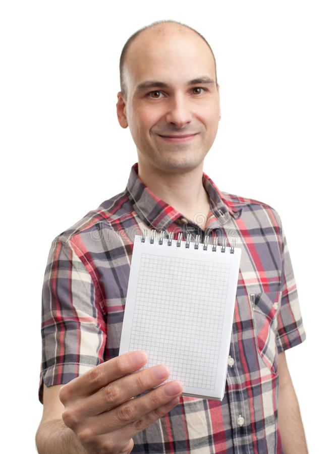 Man showing blank notepad stock photography