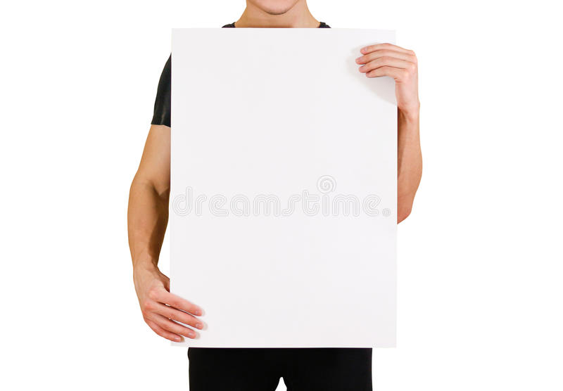 Man showing blank white big A2 paper. Leaflet presentation. Pamphlet royalty free stock photos
