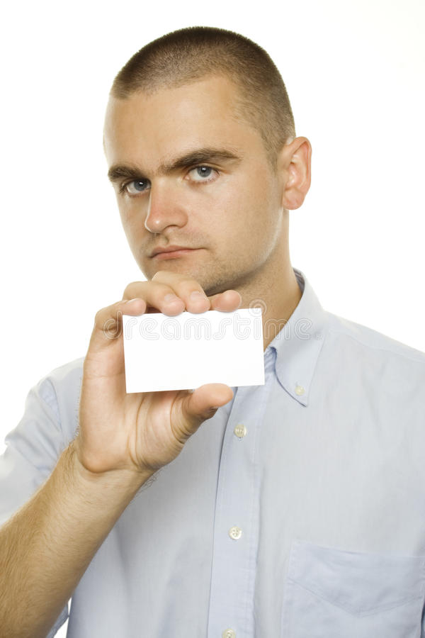 Man showing a business card. Close-up of businessman showing a business card stock photos
