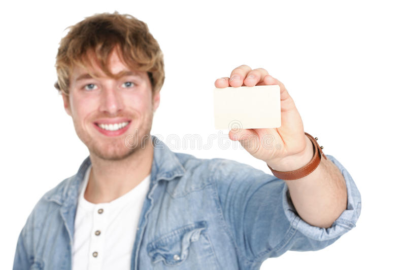 Man showing business card sign stock image