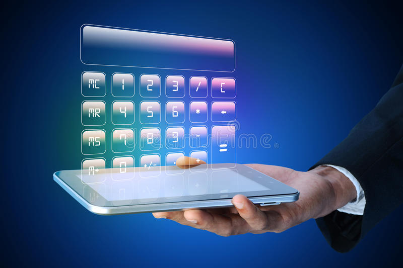 Man showing computer keys. In color background stock images