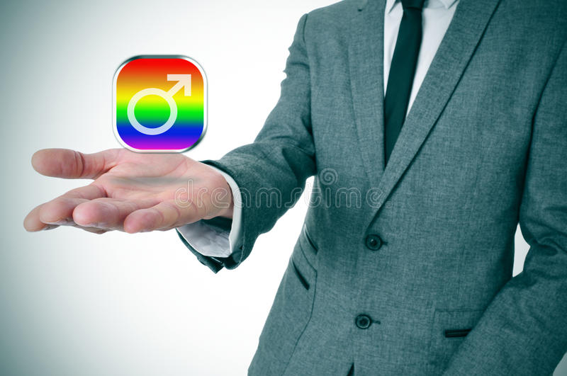 Man Showing A Gay Male App Icon Stock Photo