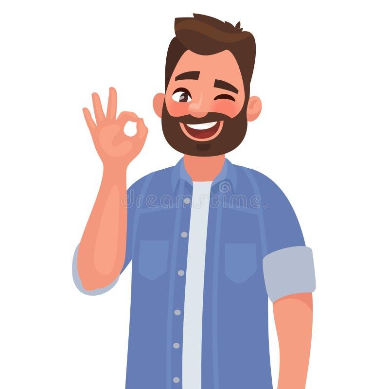 Man is showing a gesture Okay, ok. Vector illustration stock illustration