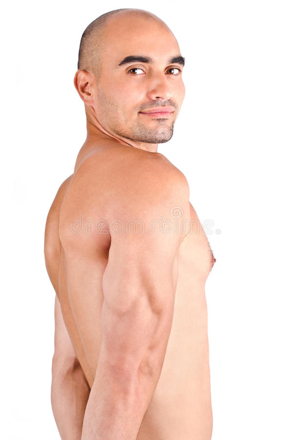 Man showing his triceps. Bodybuilder posing showing his triceps. royalty free stock photos