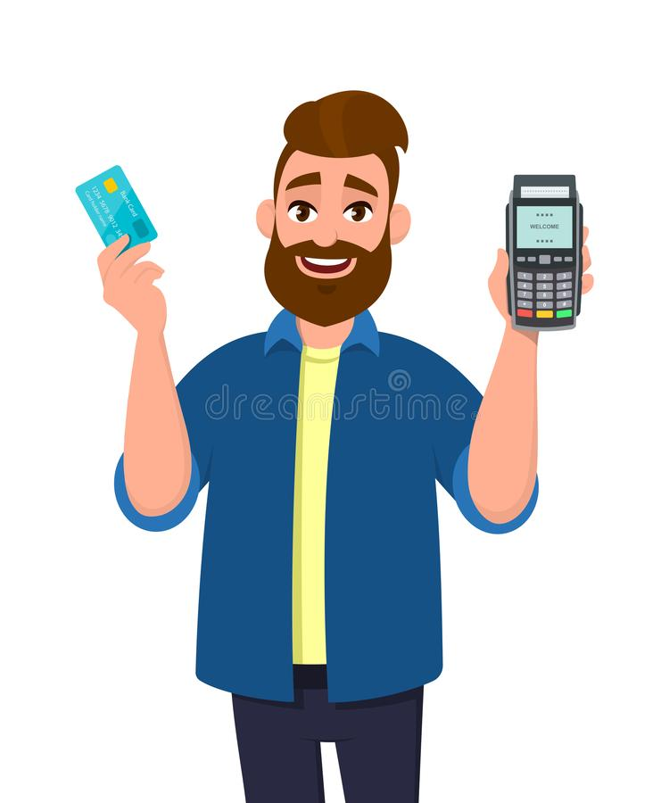 Man showing / holding credit / debit card and POS terminal machine. Man holding payment terminal machine. stock illustration
