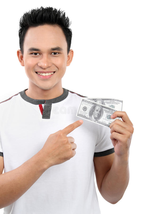 Man Showing  Money Royalty Free Stock Photography