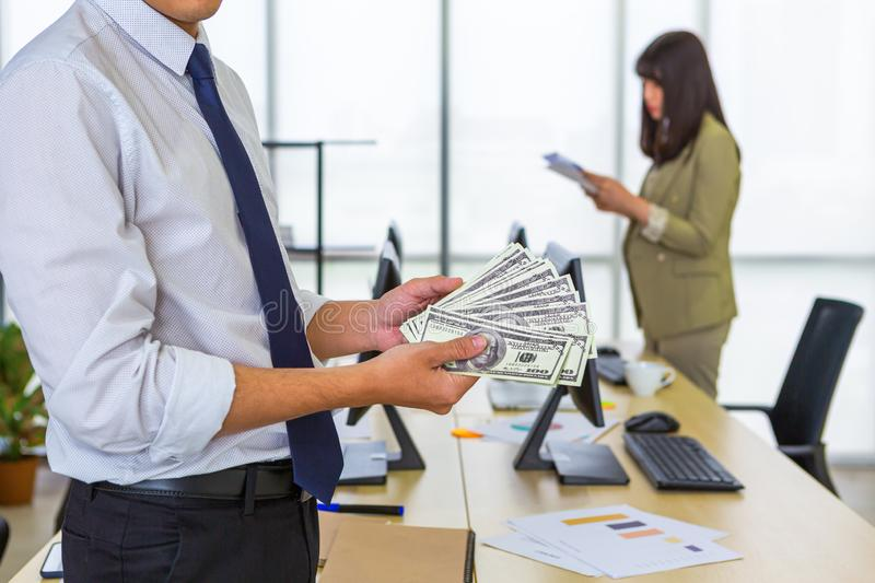 Man showing money in hand royalty free stock photography