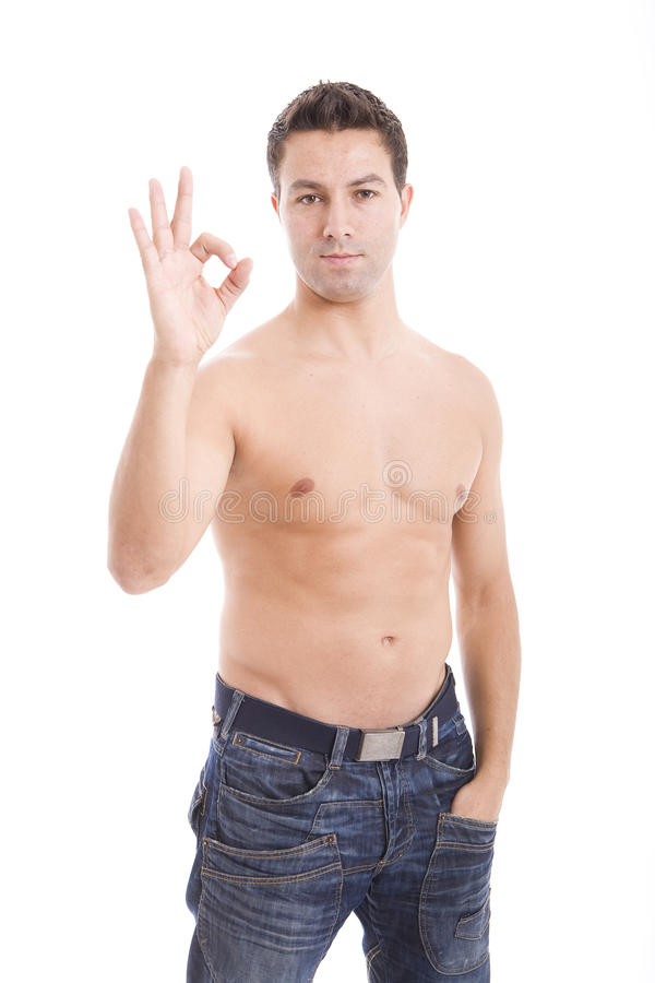 Man showing ok sign royalty free stock photography