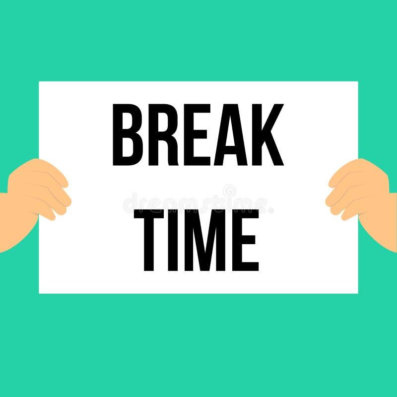 Man showing paper BREAK TIME text vector illustration