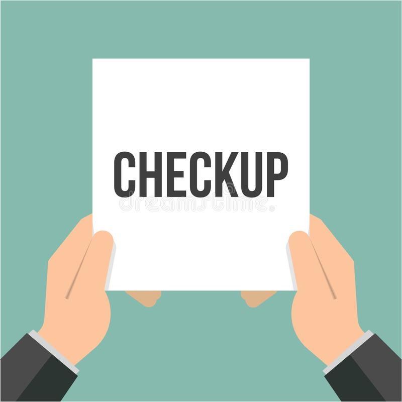 Man showing paper CHECKUP text stock illustration
