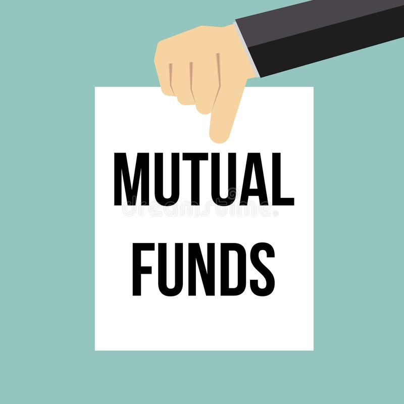 Man showing paper MUTUAL FUNDS text royalty free illustration