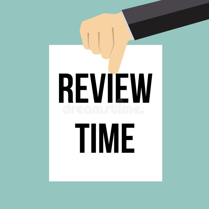 Man showing paper REVIEW TIME text royalty free illustration