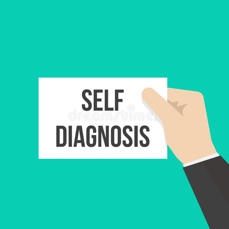 Man showing paper SELF DIAGNOSIS text vector illustration