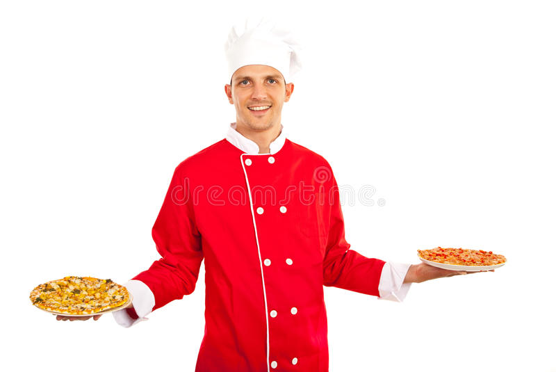 Man showing pizza. Chef mans howing pizza on plates isolated on white background stock photography
