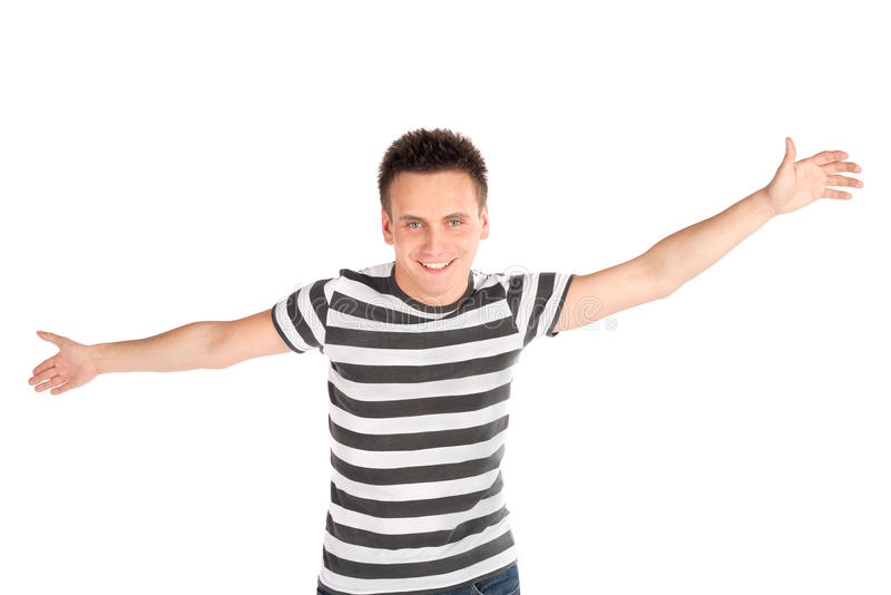 Man Showing Size. Young handsome happy man showing size of something isolated on white background royalty free stock photos