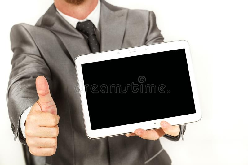 Man working with a tablet stock images
