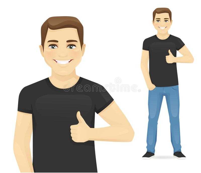Man showing thumb up. Smiling man showing thumb up gesture vector illustration vector illustration
