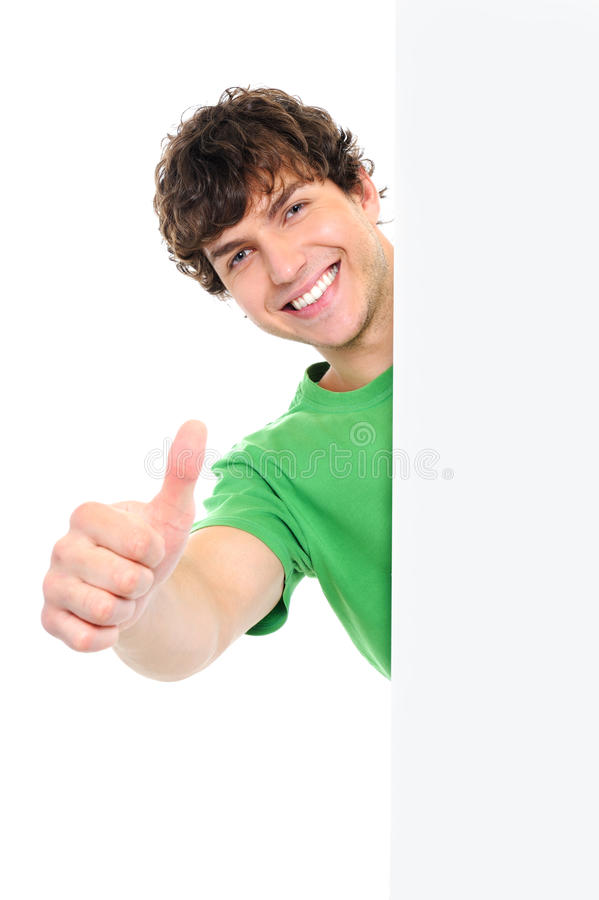 Free Man Showing Thumbs Up From The Banner Stock Image - 11639011