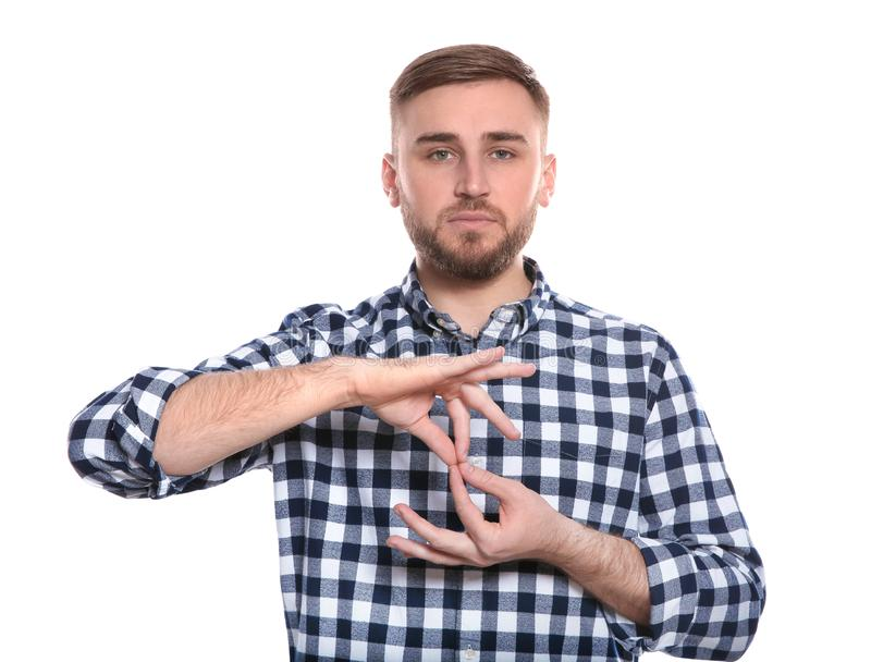 Man showing word INTERPRETER in sign language on white. Background stock photo
