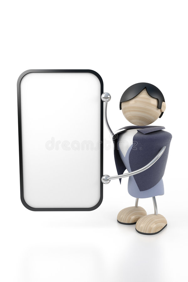 Free Man Shows A Clean Tablet Stock Photo - 4403480