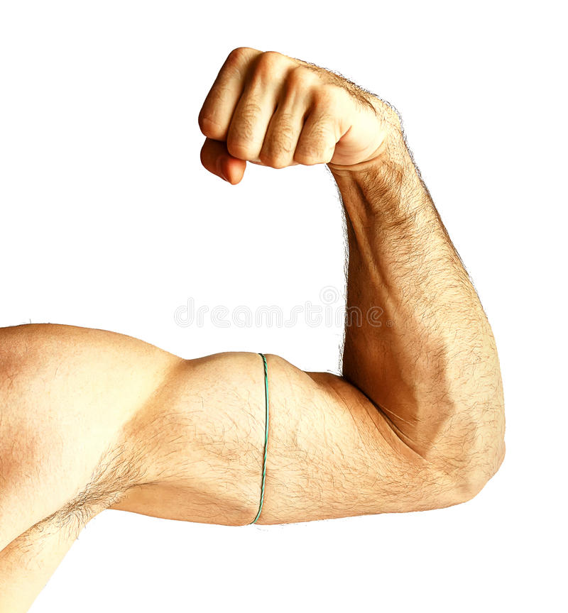 A man shows arm strength. stock photography
