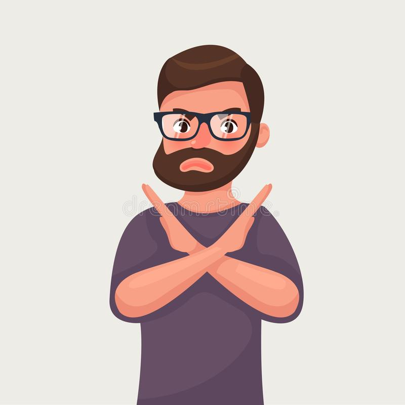 Man shows a gesture stop or no. Vector illustration in cartoon style vector illustration