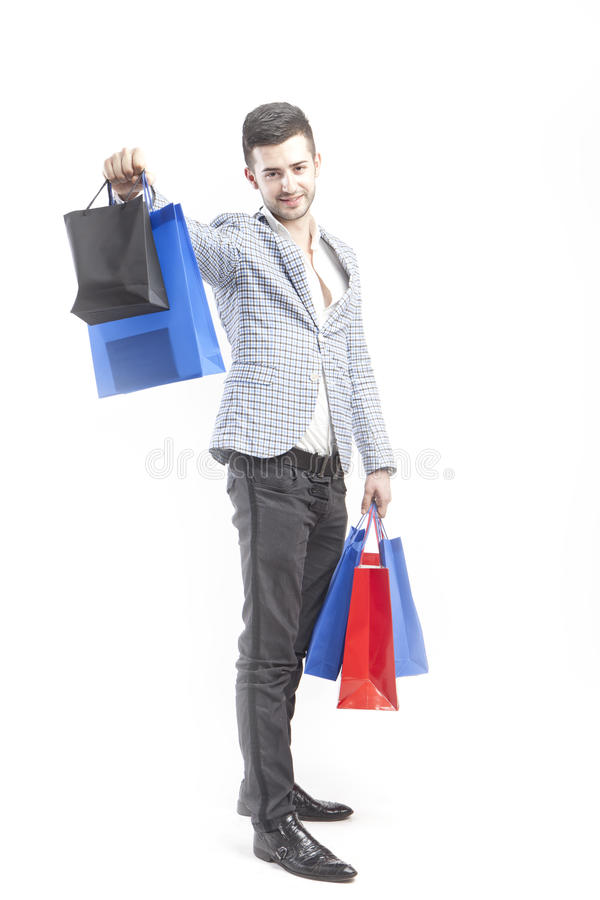 Man shows shoppings stock images