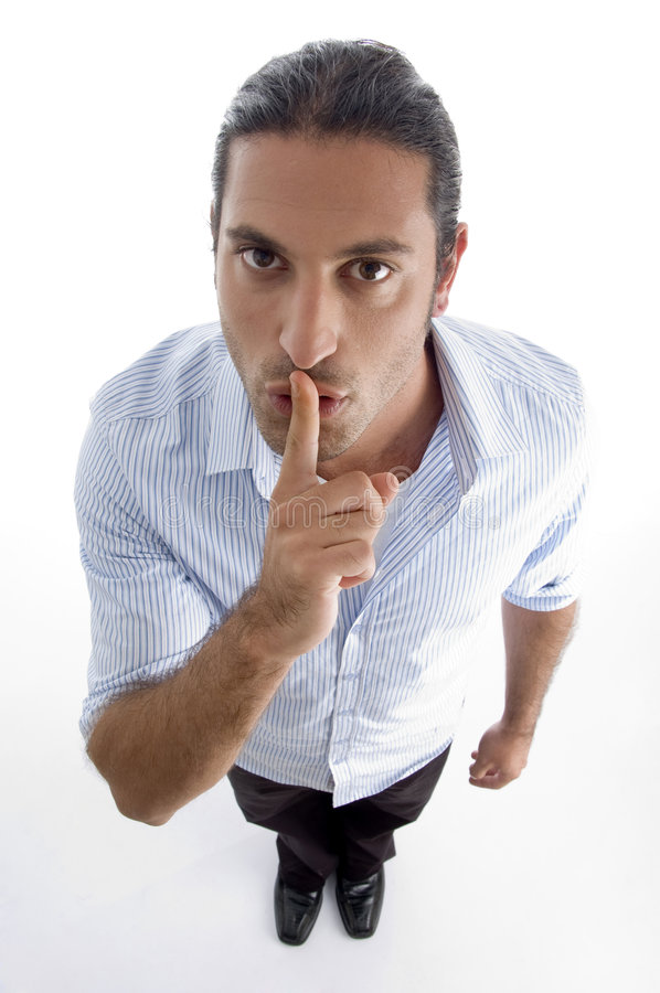 Free Man Shushing With Hand Gesture Royalty Free Stock Photography - 7140057