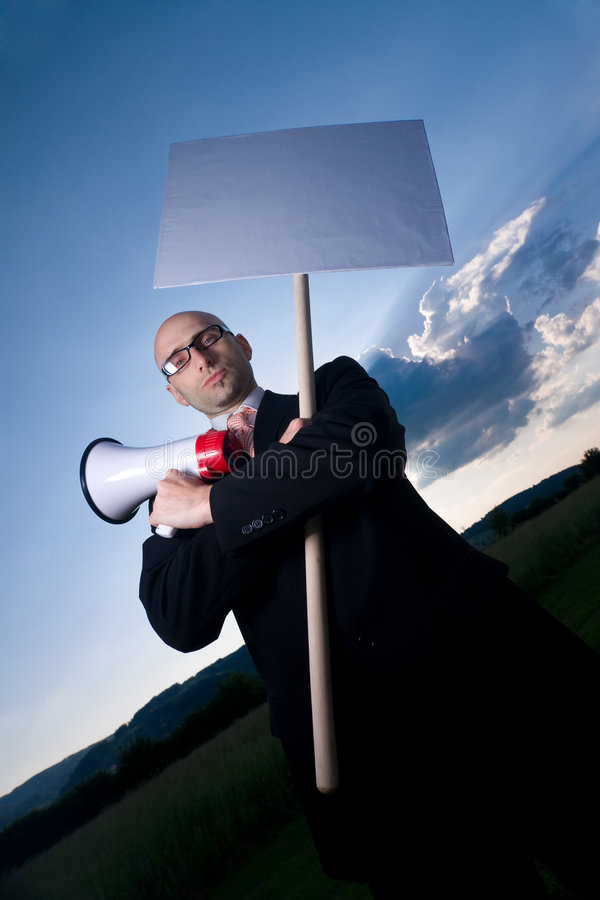 Download Man with sign stock image. Image of vertical, clouds, white - 5427263