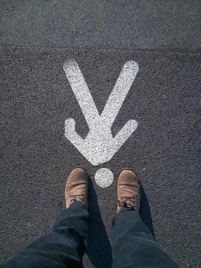 Man sign on the asphalt stock photography