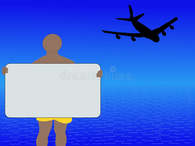 Download Man With Sign And Plane Royalty Free Stock Photo - Image: 4649375