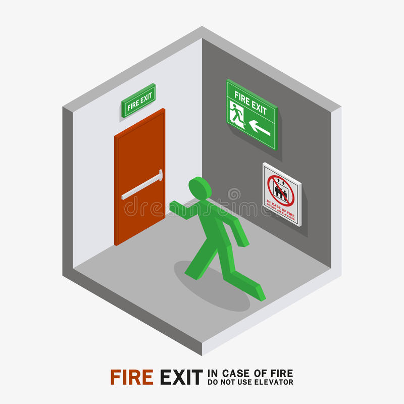 Man sign run to fire exit isometric. Man sign run to fire exit in case of fire do not use elevator isometric vector illustration