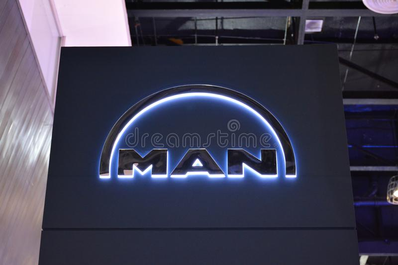 Man truck and bus signage. PASAY, PH - AUG. 17: Man exhibit booth signage on August 17, 2018 at Transport and Logistics in World Trade Center Metro Manila, Pasay royalty free stock photo