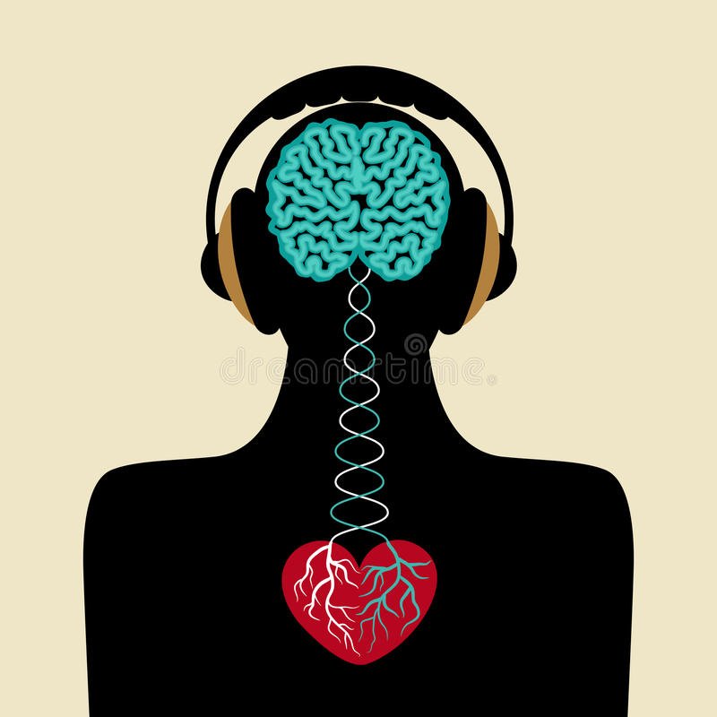 Man silhouette with brain and heart stock illustration