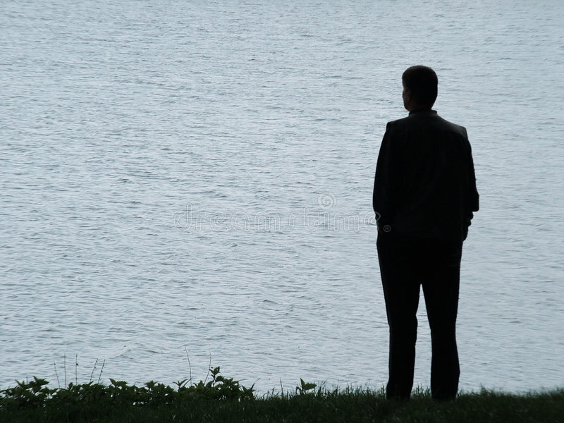 Man silhouette at evening royalty free stock images