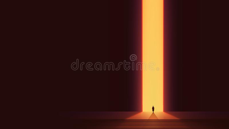 Man silhouette in front of glowing portal, futuristic vector background, Abstract cyberpunk architecture with gradient lighting royalty free illustration