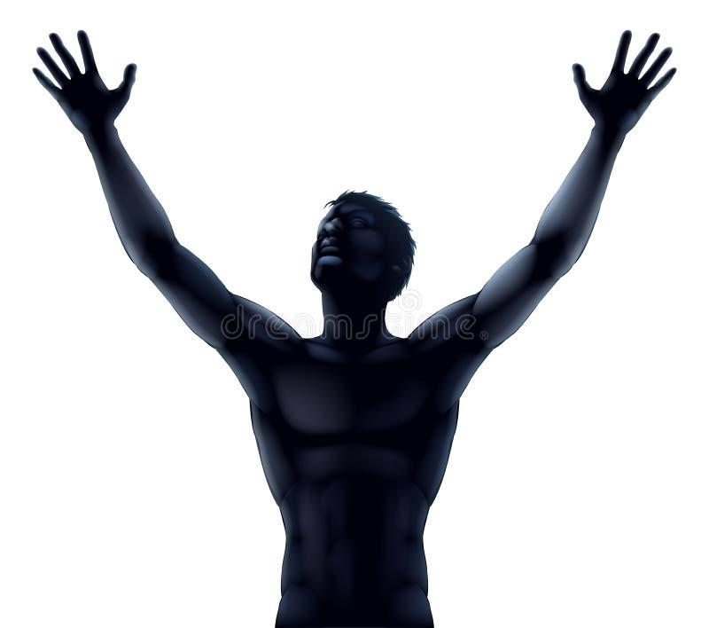Man silhouette hands raised royalty free illustration