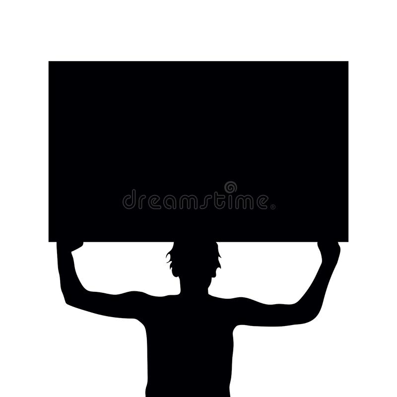 Man silhouette holding protest sign stock photos
