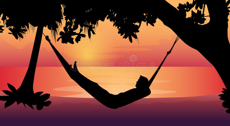 Man Silhouette Lying In Hammock Beach Vacation stock illustration