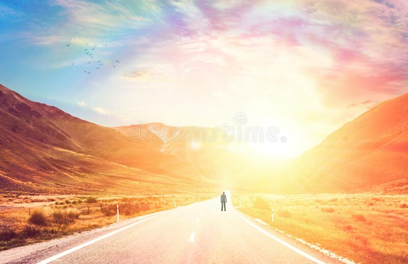 Sunny nature landscape road to success, rainbow sky royalty free stock images