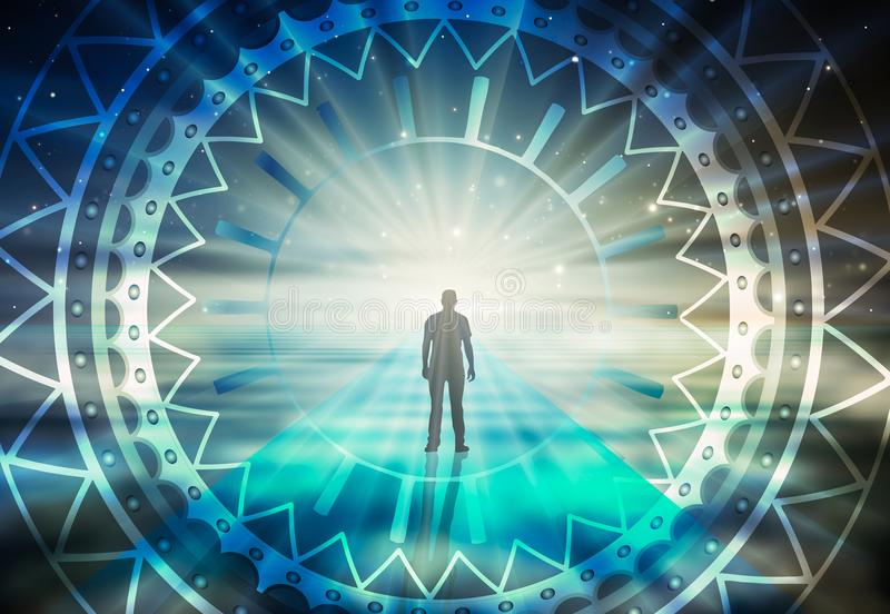 Man surreal life soul journey through abstract Universe doorway stock illustration