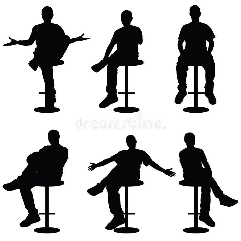 Man Silhouette Sitting On Bar Stools Illustration Stock