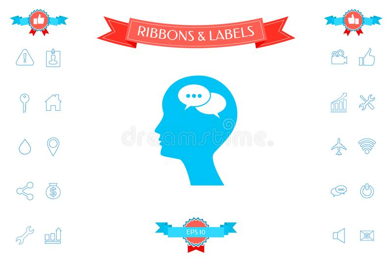 Man Silhouette With Symbol Of Chat Stock Vector Illustration Of