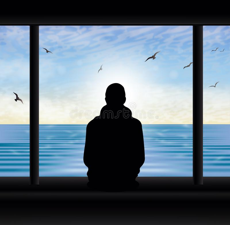 Man thinking silhouette at the window looking at lake. Man silhouette looking at the sea from window, relaxing, thinking, dreaming, meditating. Blue sky with vector illustration