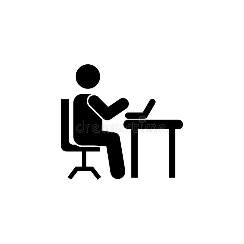 Man silhouette working on computer icon. On white background royalty free illustration