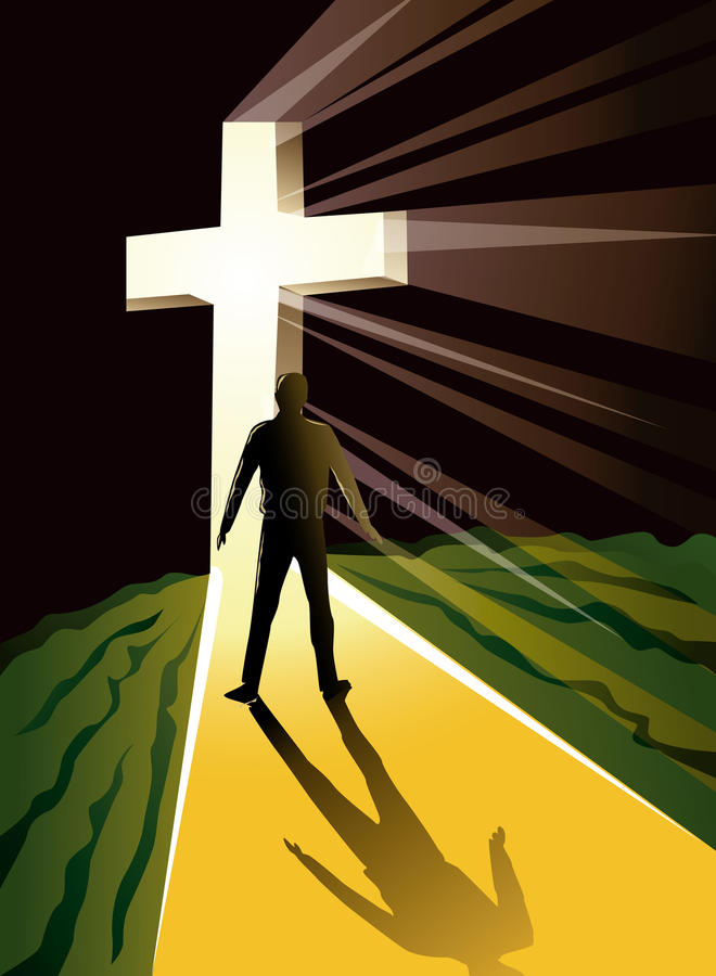 Man silhouetted in bright cross. Illustration of a man silhouetted in the light of a large, bright Christian cross stock illustration
