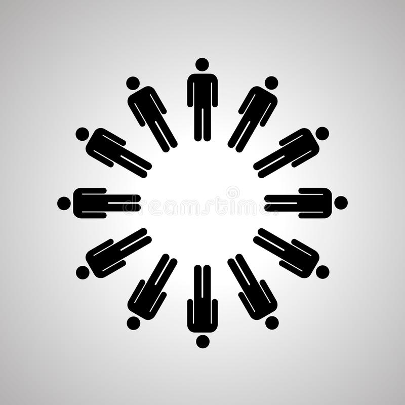 Man silhouettes arranged in round dance, black human icons vector illustration