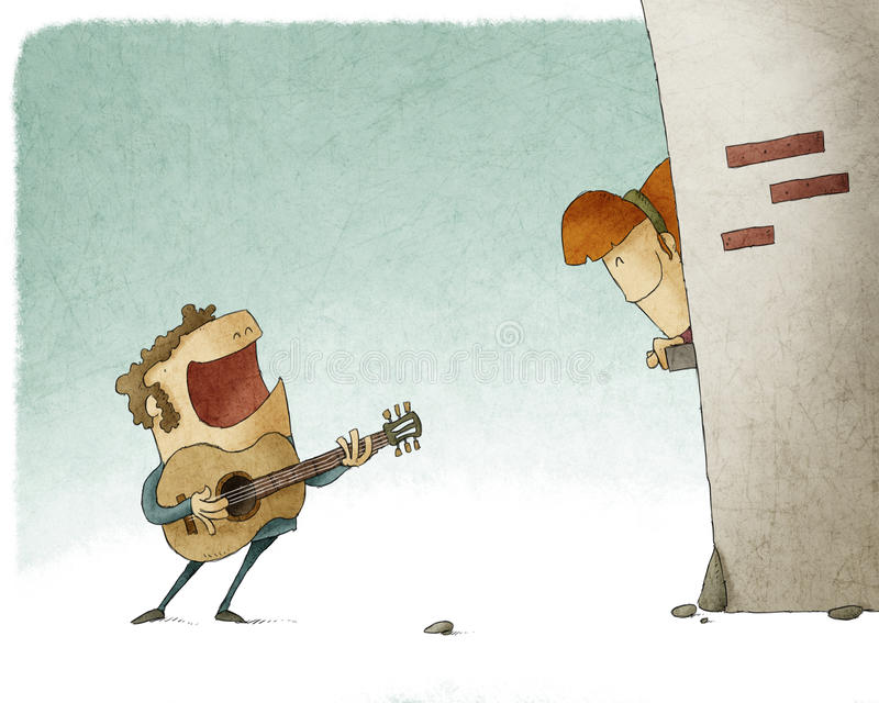 Man singing and playing guitar for a woman. Man singing a song and playing guitar for a woman royalty free illustration
